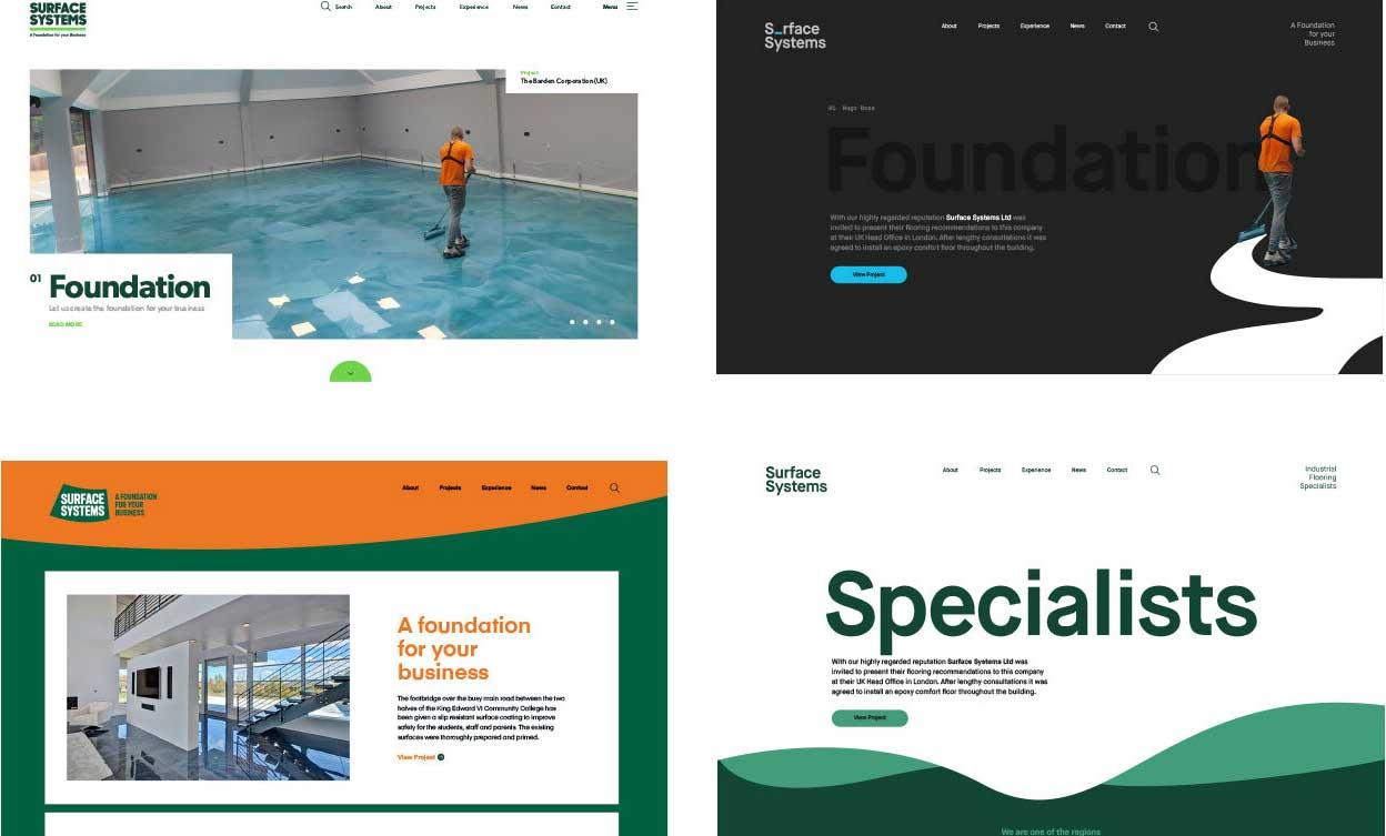 Surface Systems Brand Development exemplar design concepts