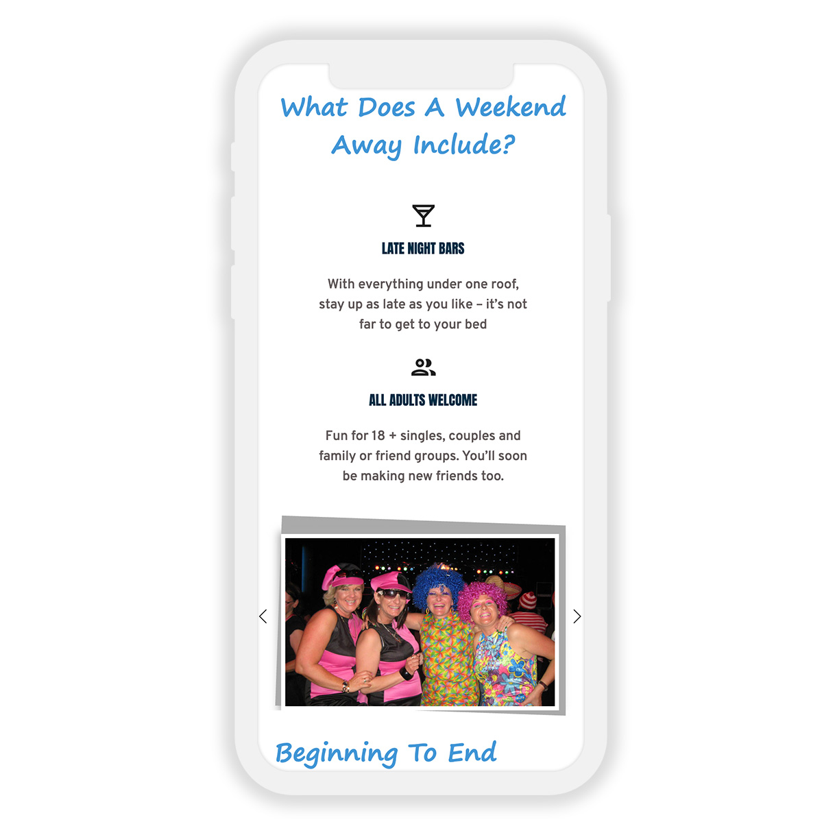 serious about events mobile website design